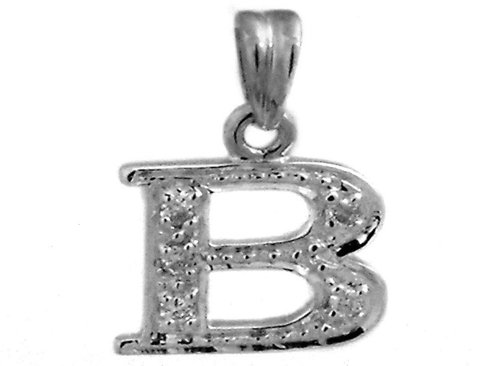 gold ctw diamond pendant initial yellow custom charm solid letter b