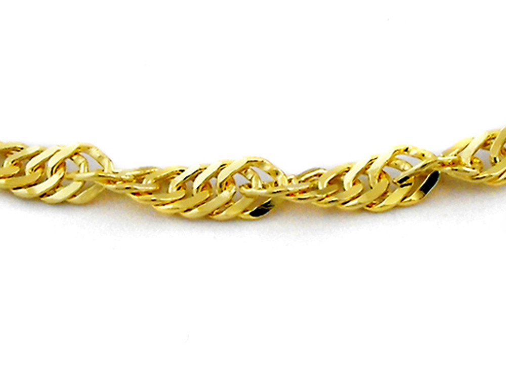9ct Yellow Gold Italian Singapore Design Chain, 1.1mm wide, 42cm ...